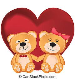 ursos, pelúcia, dois dia, valentine