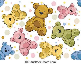 ursos, seamless, pelúcia