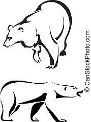 ursos, silhuetas, fundo branco