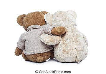 ursos teddy, dois, abraçando, costas, outro, cada, vista