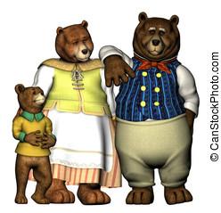 ursos, vestido, poço
