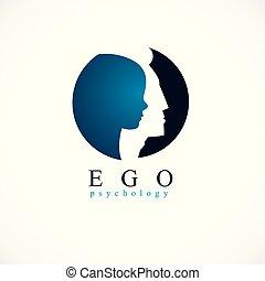 ursprung, individualitet, mental, analysis., mänsklig, design, litet, begrepp, psykiskt, hälsa, inre, profil, huvud, terapi, barn, man, pojke, skapat, psykologi, problems., insida, vektor, ego