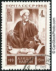 urss, -, circa, 1968:, um, selo, impresso, em, a, urss, mostra, alisher, navoi, (1441-1501), 525th, nascimento, aniversário, circa, 1968
