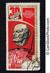 u.r.s.s., comunista, dedicado, fiesta, estampilla