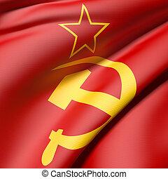 urss flag - 3d rendering of an old soviet flag