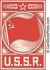 urss, manifesto, (soviet, unione, poster)