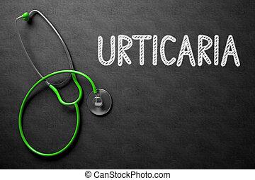 Urticaria Concept on Chalkboard. 3D Illustration. - Black...