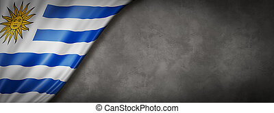 Uruguaian flag on concrete wall banner