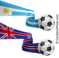 uruguay, angleterre, football, drapeau, &