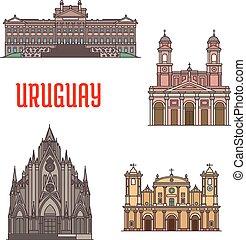 Uruguay architecture tourist attraction icons. Legislation...
