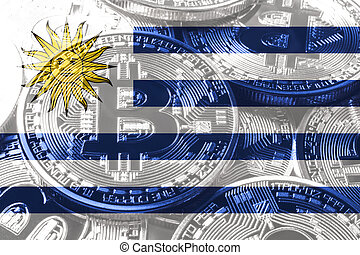 Uruguay bitcoin flag, national flag cryptocurrency concept