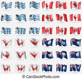 Uruguay, Canada, Easter Rapa Nui, Anguilla. Set of 36 flags...