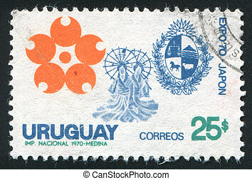 Emblem - URUGUAY - CIRCA 1970: stamp printed by Uruguay,...