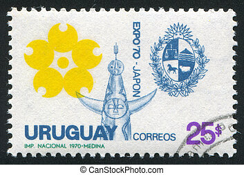 Sun Tower and Uruguay Coat of Arms - URUGUAY - CIRCA 1970:...