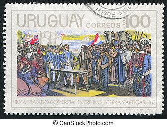 Treaty Signing - URUGUAY - CIRCA 1975: stamp printed by...