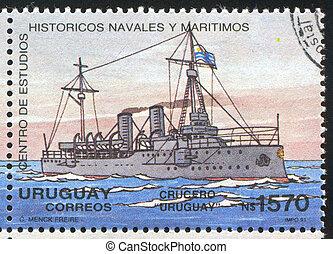 Cruiser - URUGUAY - CIRCA 1991: stamp printed by Uruguay,...