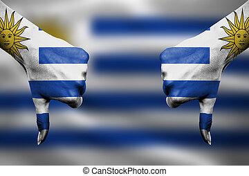 uruguay, devant, -, bas, échec, pouces, mains, fla, faire gestes