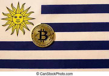 Uruguay flag and bitcoin crypto.