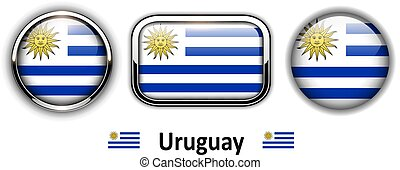 Uruguay flag buttons, 3d shiny vector icons.