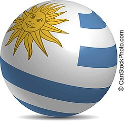 Uruguay flag on a 3d ball with shadow