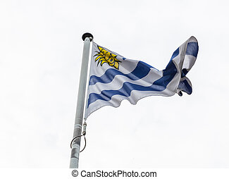 Uruguay flag on a pole waving, cloudy sky background