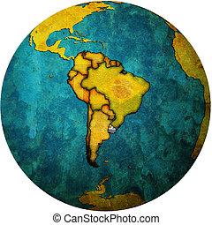 uruguay flag on globe map