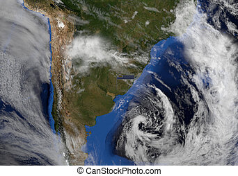 Uruguay flag on pole on earth globe illustration - Elements of this image furnished by NASA