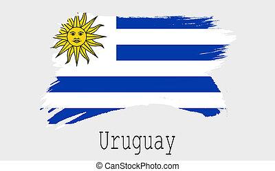 Uruguay flag on white background