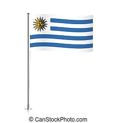 Uruguay flag waving on a metallic pole.
