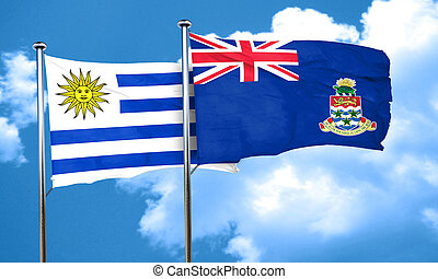 Uruguay flag with Cayman islands flag, 3D rendering