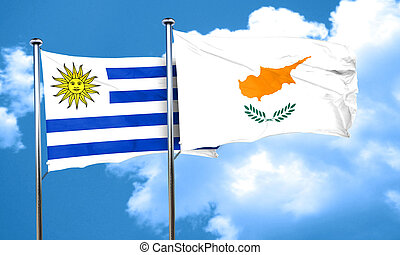 Uruguay flag with Cyprus flag, 3D rendering
