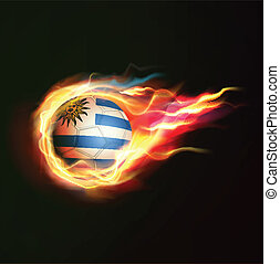 Uruguay flag with flying soccer ball on fire isolated black background, vector illustration