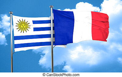 Uruguay flag with France flag, 3D rendering