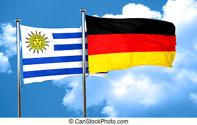 Uruguay flag with Germany flag, 3D rendering