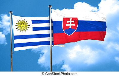 Uruguay flag with Slovakia flag, 3D rendering