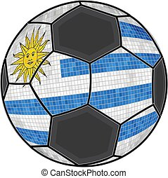 Uruguay flag with soccer ball background