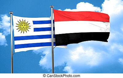 Uruguay flag with Yemen flag, 3D rendering