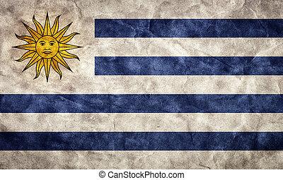 uruguay, grunge, flag., cikk, alapján, az enyém, szüret, retro, zászlók, gyűjtés