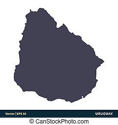 uruguay, illustration, eps, amérique sud, vecteur, -, design., logo, icône, pays, 10., carte, gabarit