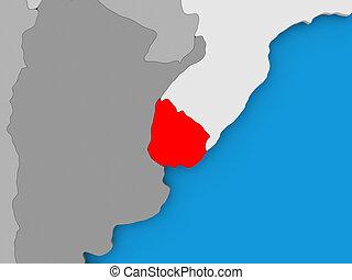 Uruguay in red on globe