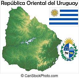 Uruguay map flag coat