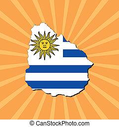 Uruguay map flag on sunburst