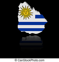 Uruguay map flag with reflection illustration