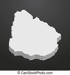 Uruguay map in gray on a black background 3d