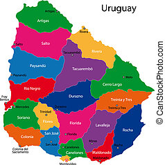 Uruguay map - Map of the Republic of Uruguay with the...