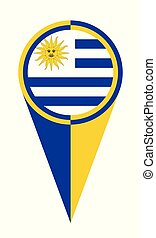 Uruguay Map Pointer Location Flag - Uruguay map pointer pin...