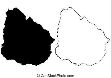 Uruguay map vector