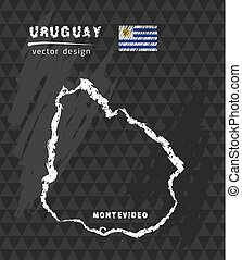 Uruguay map, vector pen drawing on black background