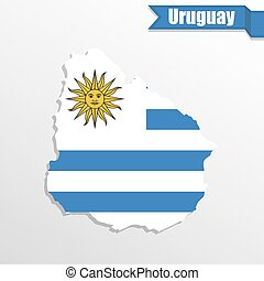 Uruguay map with flag inside and ribbon