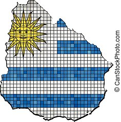 Uruguay map with flag inside